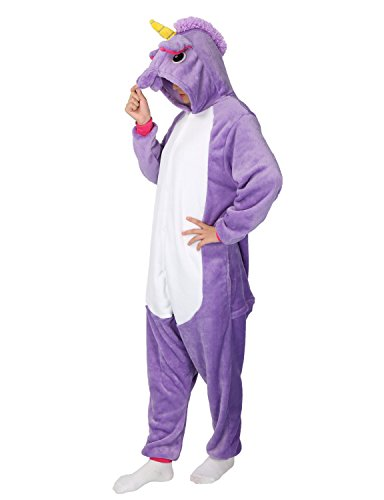 Unicorn Onesie Animal Pajamas Adult Sleepwear Kigurumi Cosplay Halloween Costume (L, Purple)