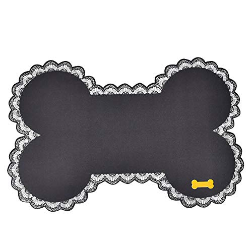 ywbtuechars Placemats and Coaster Dog Cat Bowl Mat Pad Bone Shape Food Container Water Bottle Pet Feeding Placemat - Black (Mats Personalised Feeding Dog)