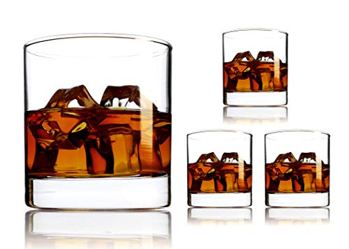 Luxury Whiskey Glasses - Made In USA, Thick Bottom, Heavyweight, Lead Free, Crystal Clear Clarity - Bar Liquor Cocktail Glassware - 8 ounce - (Set of 4) - Warranty (8 Ounce Rocks)