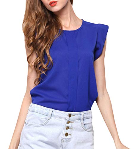 JSY Womens Vogue Round Neck Tops Solid Cap Sleeve T-Shirts Sapphire Blue -
