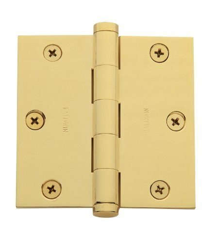 Baldwin 3.5 in. x 3.5 in. Lifetime Polished Brass Square Hinge (Polished Brass Hinge Lifetime)