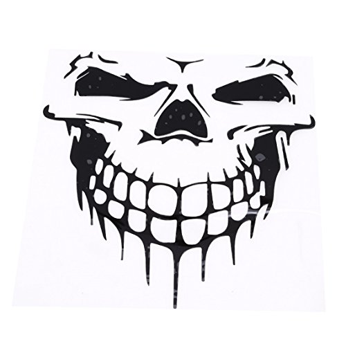 GUAngqi Skull Vinyl Decal Sticker Body Decal Reflective Car Stickers Car Decal Hood Sticker Car Truck Tailgate Window Decor Vehicle Styling Removable Sticker,Black