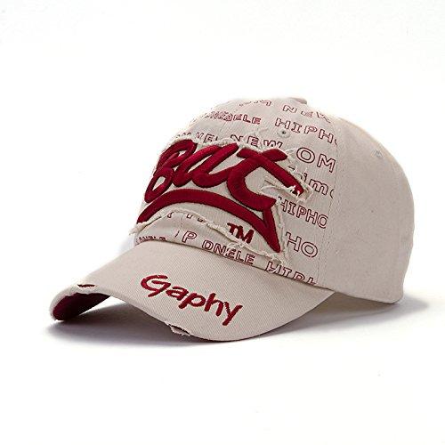 New fashion casual bat baseball cap cotton Letter snapback hats cap golf hats hip hop fitted cheap polo hats for men women (Beige Color/Red - Bat Oakley