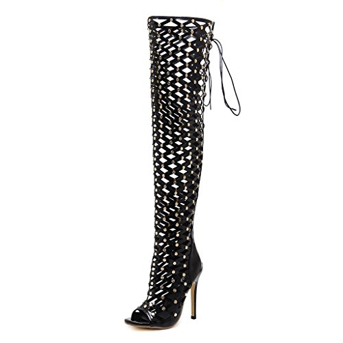 ALUK- Zapatos de mujer - Moda europea y americana / tacones altos / remaches zapatos huecos / sandalias atractivas ( Color : Negro , Tamaño : 39-Shoes long245mm ) Negro