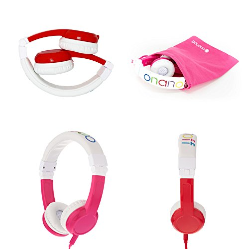 Explore Foldable Volume Limiting Kids Headphones – 2-Pack – Save 10% Compared to Purchasing Single Units – Pink & Red