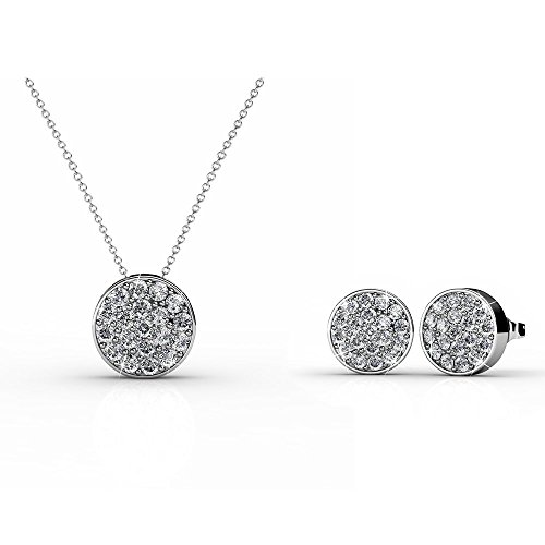 (Black Swan 18K White Gold Plated Pave Swarovski CZ Flat Circle Stud Earring and Necklace Jewelry Set)