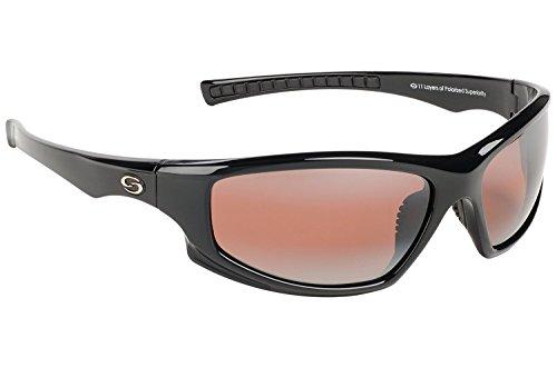 Strike King S11 Optics Full Frame with Slim Arm Polarized Sunglasses (Shiny Black - Amber Best Sunglasses Polarized
