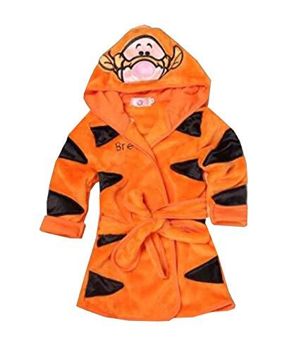 Fankeshi Kids Little Boys Girls Hooded Pajamas Cartoon Animal Bath Robes (Orange, 110: 4T)]()