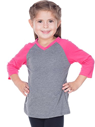 (Kavio! Little Girls 3-6X Sheer Jersey Contrast V Neck Raglan 3/4 Sleeve Dark H.Gray/Watermelon 5/6 )