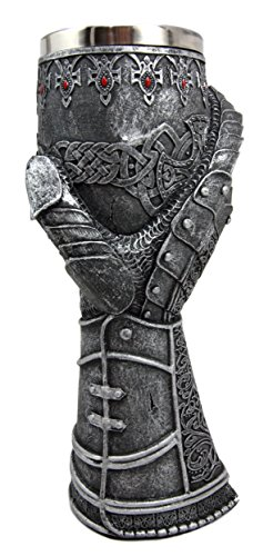 Ebros Medieval Knight Of Chivalry Royal Gauntlet Wine Goblet 9.5