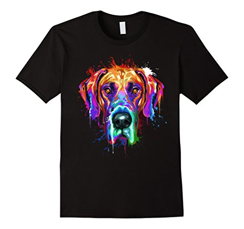 Mens Splash Art Great Dane T-Shirt | Dane Puppy Lover Gifts 3XL Black