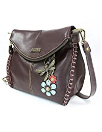 Chala Charming Crossbody Bag with Zipper Flap Top and Metal Chain - Dark Brown