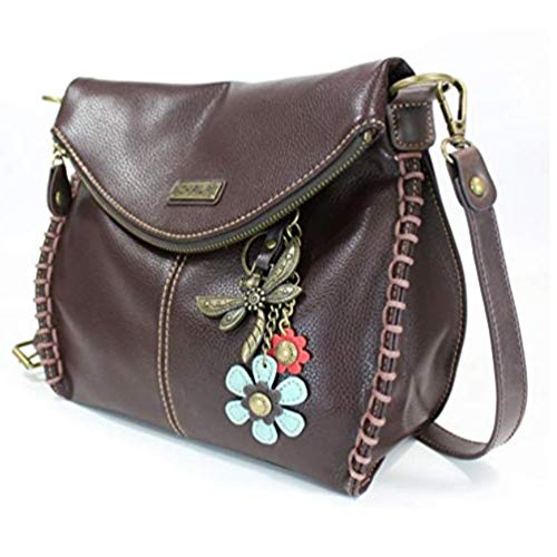 Chala Charming Crossbody Bag with Zipper Flap Top and Metal Chain - Dark Brown - Dragonfly