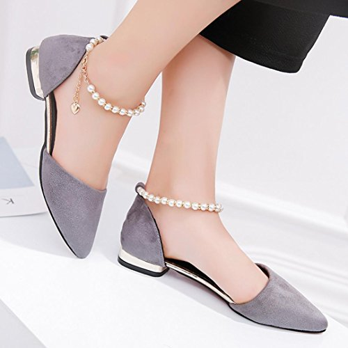 Muium Women Fashion Sandals, Ladies Summer Beaded Low-Heeled Sandals Solid Color Pointed Toe Party Shoes Gray