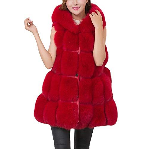 Rouge Hiver De Dame Coat Boutonnage Unicolore Gilet Patte Épaisseur Femme Elégante Désinvolte Jacken Casual Automne Manteau Synthétique Mode Fourrure Large HqSw84v