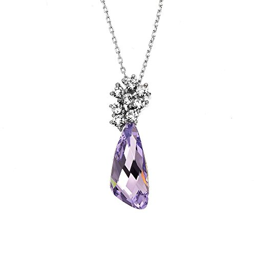 14K Gold or Rhodium Plated Comet Pendant Necklace, Made with Swarovski Crystals, 16