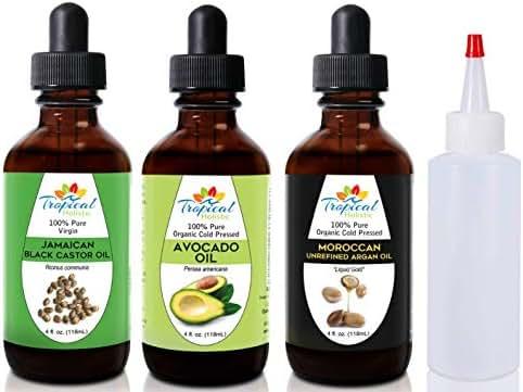 Tropical Holistic 100% Pure Natural Variety Moisturizing Oils Sampler: Avocado, Jamaican Black Castor Oil, and Argan - 4oz. Bottles each + Free 2 oz Applicator Bottle