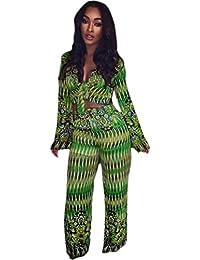 Women's 2 Pieces Outfit Floral Crop Top + Pants Set Rompers Playsuits