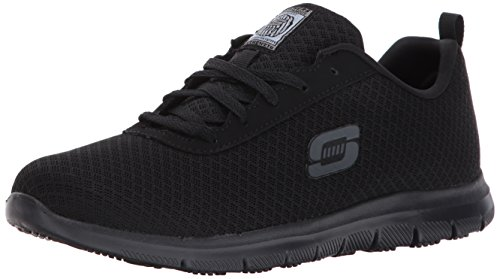 Skechers for Work Women's Ghenter Bronaugh Work and Food Service Shoe 6W, BLACK, 6 W US (Best Nursing Shoes Skechers)