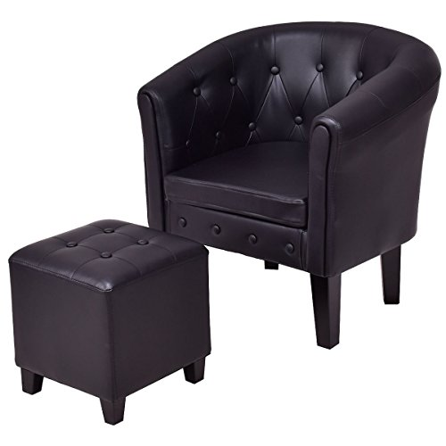 - Giantex Accent Armchair Club Seat PU Leather Barrel Tub Tufted Modern Living Room Chair with Cushion and Ottoman (Black)
