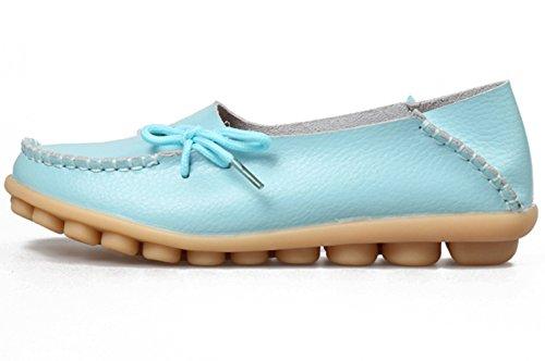 DADAWEN Mädchen/Damen Loafer Schuhe Flach Sandalen Slipper Pump Bootsschuhe Blau