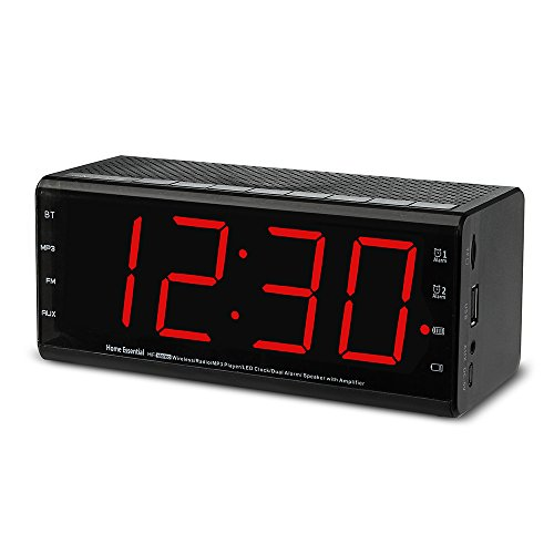 Plumeet Alarm Clock Radio & Bluetooth Speakers with Dual Alarm and Snooze, Larger LED Digital FM Radio with MP3 Player and USB Port for Phone Charger, DC Powered and Battery Backup