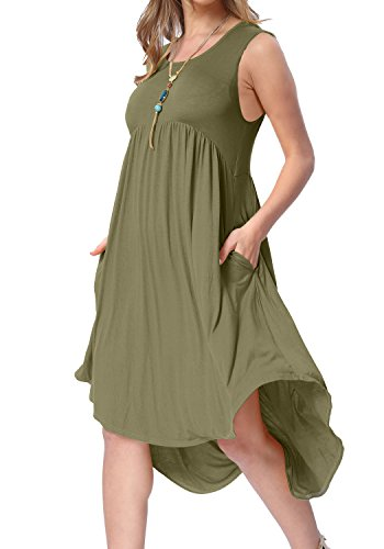 levaca Women's Summer Round Neck Draped Hem Swing Causal Tank Dress Army Green S