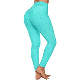 HURMES Women's High Waist Scrunch Ruched Butt Lift Workout Leggings Textured Tummy Control Yoga Pants Booty Push Up Gym Tights Blue