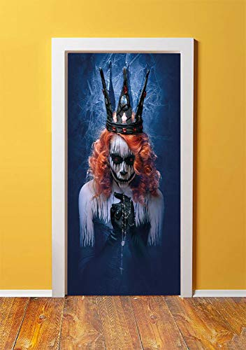 Queen 3D Door Sticker Wall Decals Mural Wallpaper,Queen of Death Scary Body Art Halloween Evil Face Bizarre Make Up Zombie,DIY Art Home Decor Poster Decoration 30.3x78.10080,Navy Blue Orange Black -