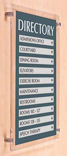 Aluminum Wall Mounted Sign Frames - 18x24 Wall-Mounted Sign Holder with Set of 4 Aluminum Edge-Grip Standoffs, Mounts Vertically to Any Flat Surface, Poster Frame Includes Magnets to Keep Clear Acrylic Frame Closed