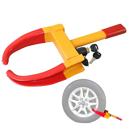 Oklead Security Wheel Clamp Lock - Anti Theft Tire Lock Claw Boot for Trailers Boats Atv'S Motorcycles Campers Yellow/Red 2 Keys