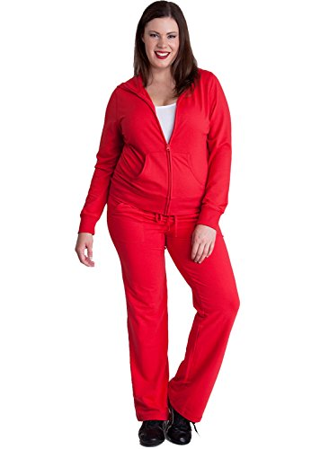 Ladies Red Plus Size Zip-up Hoodie & Drawstring Sweatpants Set