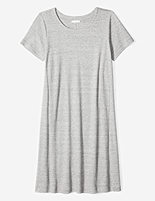 Daily Ritual Women's Plus Size Pima Cotton and Modal Short-Sleeve Scoop Neck Dress