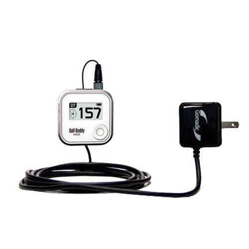 Gomadic Intelligent Compact AC Home Wall Charger suitable for the Golf Buddy Voice GPS Rangefinder - High output power with a convenient, foldable plug design - Uses TipExchange Technology