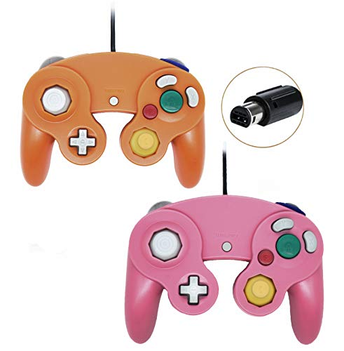 (Wired Controller For Gamecube Game Cube, Classic Ngc Gamepad Joystick For Wii Nintendo Console (Pink and Orage,Pack Of 2))