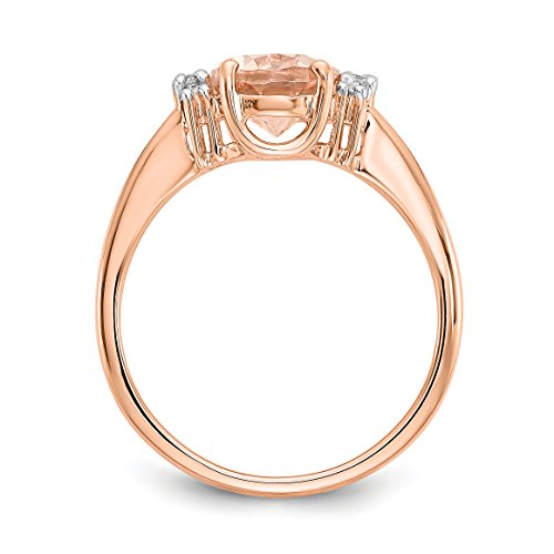 ICE CARATS 14k Rose Gold Pink Morganite Diamond Band Ring Size 7.00 Fine Jewelry Gift Set For Women Heart by ICE CARATS (Image #3)