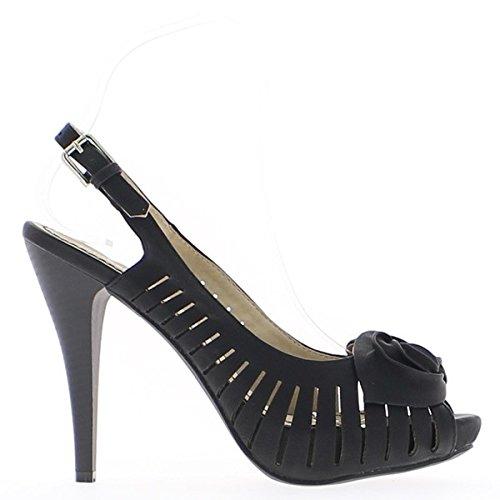 Sandales femme noires à talons de 11,5cm et plateforme