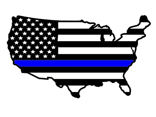 Thin Blue Line Lower 48 United States Subdued American Flag Country Shape 5 Year Outdoor Lifespan Single Color Vinyl Decal - Small - Black