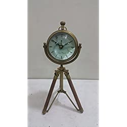THORINSTRUMENTS (with device) NAUTICAL MARITIME ~ ANTIQUE BRASS CLOCK WITH TRIPOD FINISH DESKTOP ~ TABLE CLOCK DECOR