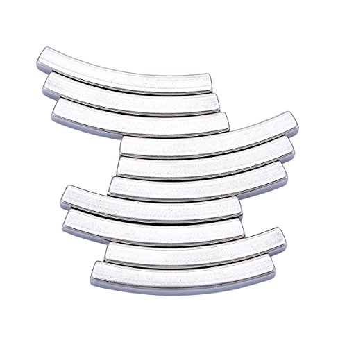10PCS Stainless Steel Curved Noodle Tube Spacer Beads Jewelry Making Findings 40mmx5mm (Tube Jewelry Beads)