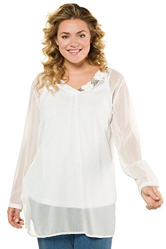 Tailles Longues Manches Femme 716100 Femme Mode Beige Top Tunique Mousseline Clair Blouse Popken Ulla Grandes Col Chemisier wq0t5pY
