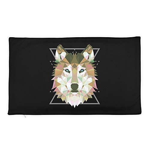 Hand Wooden Customizable Decorative Throw Pillow Covers Geometric Wolf Tee Cases for Sofa Bedroom Car Rectangular Case Only 20 x 12 inch, 50 x 30 cm