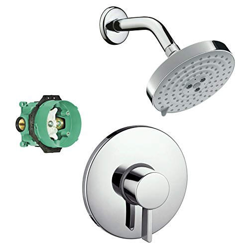 - Hansgrohe KS04233-27495PC-2 Raindance S 150 Air 3-Jet Showerhead Kit with PBV Trim, Rough In Chrome