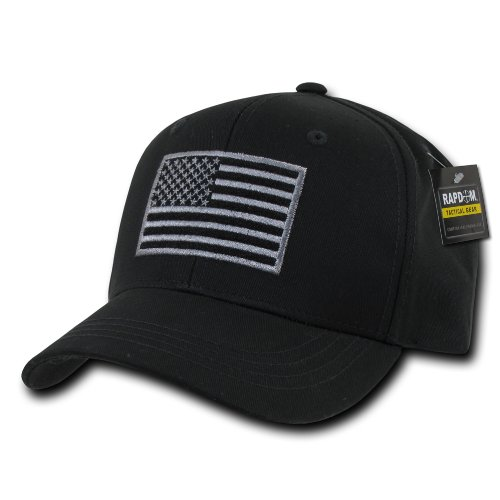 (RAPDOM Tactical T76-USA-BLK Embroidered Operator Cap, Black)