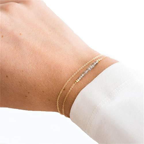 KAVANI Gold Bracelet Gray Gemstone Double Layer Natural Stone Birthstone Bar Bracelet ()