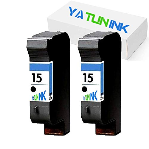 YATUNINK Remanufactured Ink Cartridge Replacement for HP 15 Black Ink Cartridges Compatible DeskJet 3820 DeskJet 920C DeskJet 940C OfficeJet 5110 OfficeJet V40 PSC 750 PSC 950 (2 Black) ()