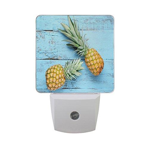ALAZA Summer Wooden Pineapple Fruit LED Night Light Dusk to Dawn Sensor Plug in Night Home Decor Desk Lamp for Adult