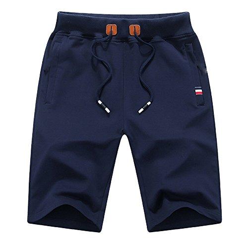 (ZFADDS Summer Cotton Shorts Men Funny Beach Short Pants Knee Short Drawstring Elastic Waist Shorts Blue XL)