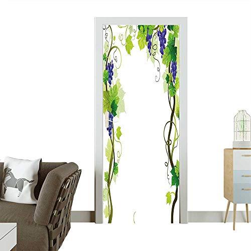 (Door Sticker with Swirled Leaf Fresh Fruit Garden Harvest Season Wine Growth Green Removable Door Decal for Home DecorW35.4 x H78.7 INCH)
