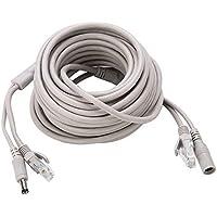 OKBY Kabel Ethernet - 5 m/10 m/15 m/20 m RJ45+DC Ethernet CCTV kabel do kamer IP System NVR 10 Mbps/100 Mbps (10 M)